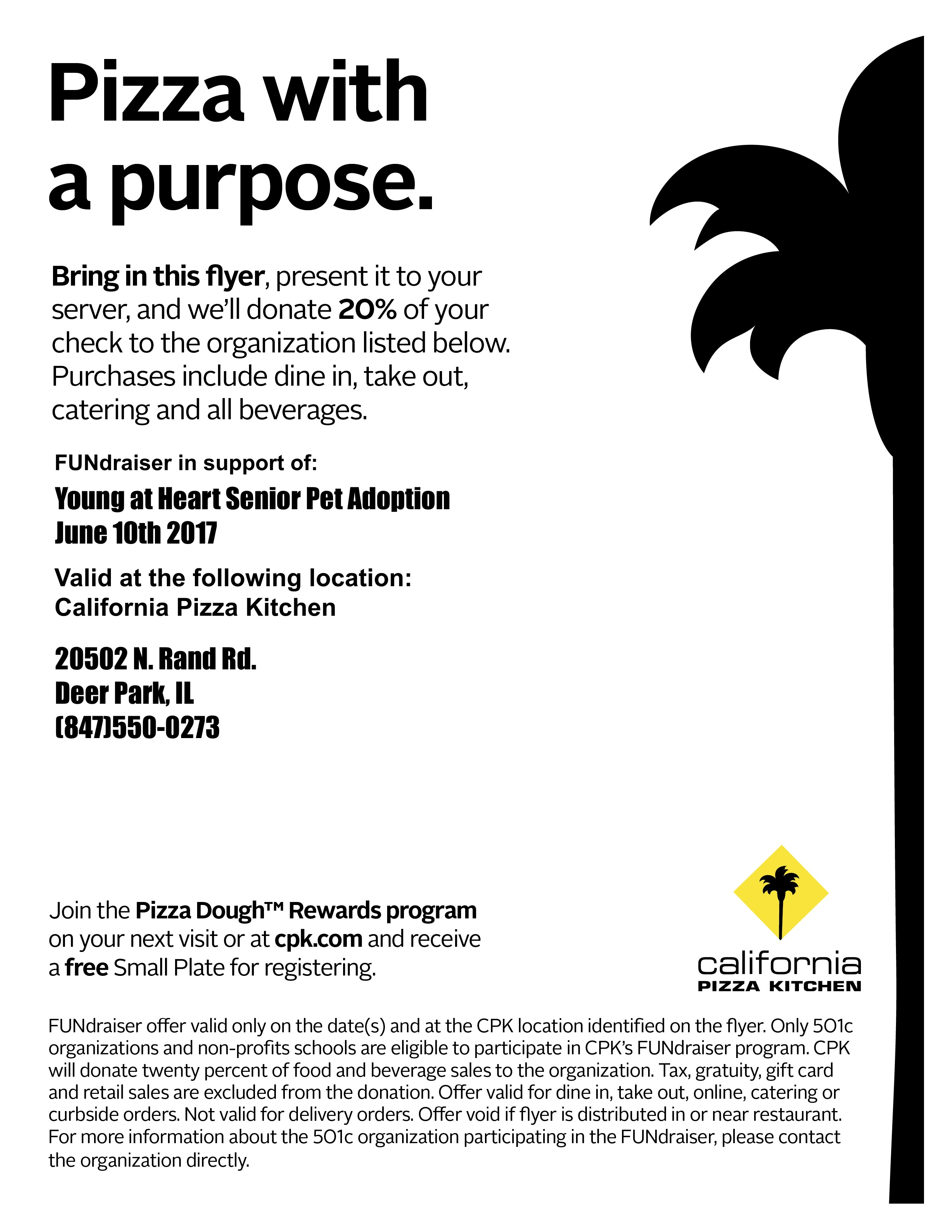 California Pizza Kitchen Fundraiser - Young At Heart