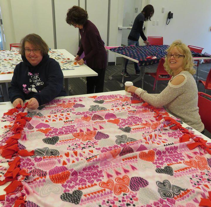 our volunteers making blankets for livelikeroo young at heart